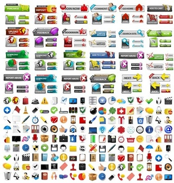 shiny web buttons and web icons vector