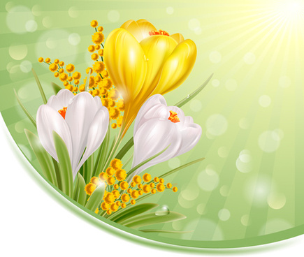 shiny white with yellow flowers vectors background