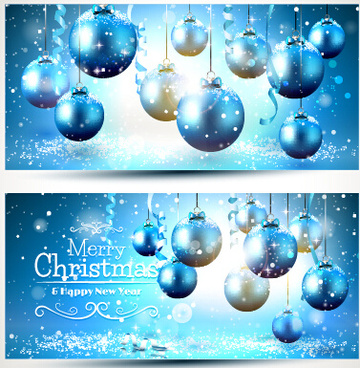 shiny xmas ball with banners vector