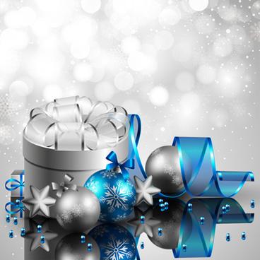 shiny xmas decorations design vector
