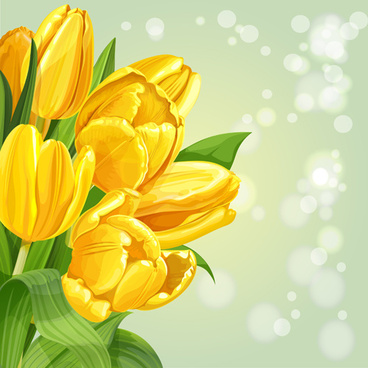 shiny yellow tulips vector background art