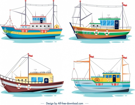 ship icon templates colorful modern design cartoon sketch
