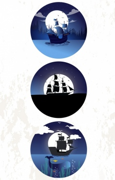 ship icons collection moonlight sea circle isolation