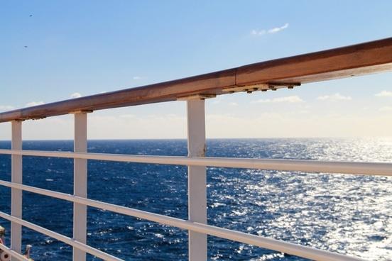 ship railing on open ocean 038 sky