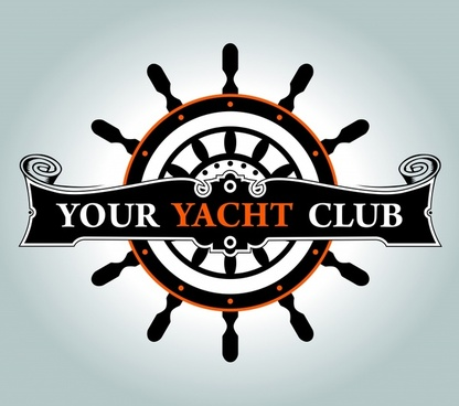 yacht club logotype dark retro steering wheel sketch