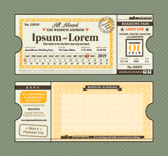 ship ticket design vector set