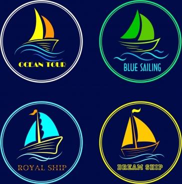 ship tour logotypes sail sea icons circle isolation