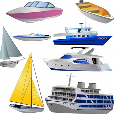 ships icons colored modern 3d sketch