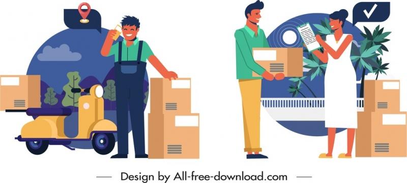 shipper job icons deliverer goods bike receiver sketch