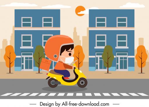 shipper job painting scooter sketch cartoon design