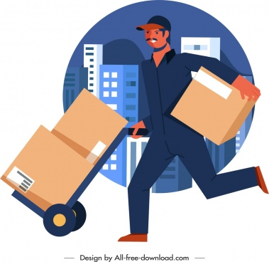 shipper work icon man transporting goods sketch