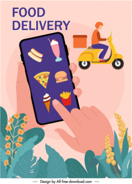 shipping application advertising banner smartphone scooter food sketch