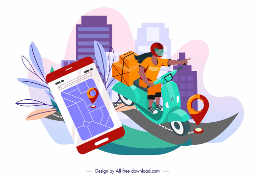 shipping background scooter smartphone sketch dynamic design