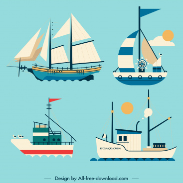 shipping icons sailboat vessel sketch classic modern design