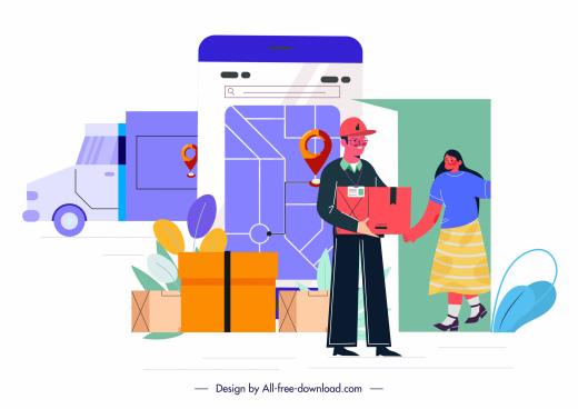 shipping job background shipper smartphone sketch