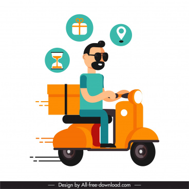 shipping job icon man ridding scooter cartoon sketch