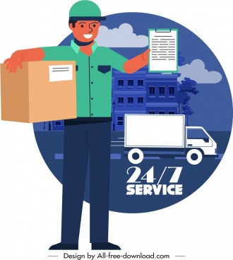 shipping service banner man goods truck icons sketch