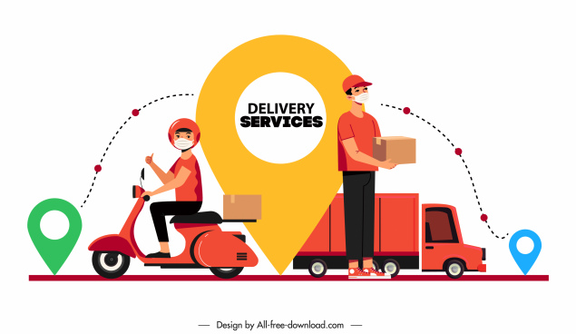 shipping service design elements navigation mark shippers sketch