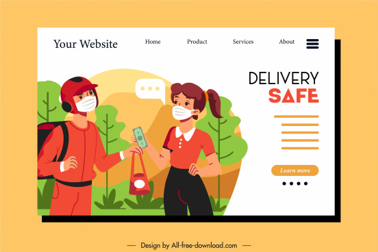 shipping service web site template cartoon characters sketch