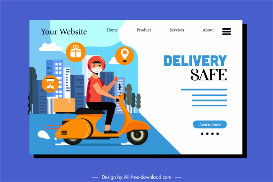 shipping service webpage template scooter shipper sketch