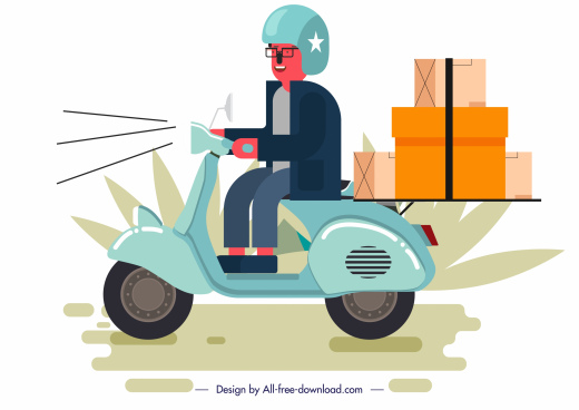 shipping work painting man scooter sketch cartoon design
