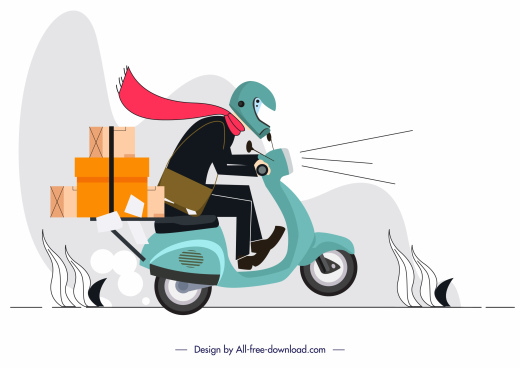 shipping work painting scooter shipper sketch motion design