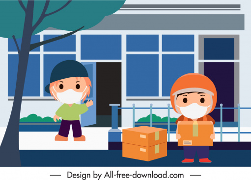 shipping work painting shippers receiver sketch cartoon design