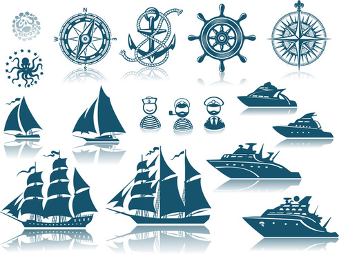 ships design elements vector set