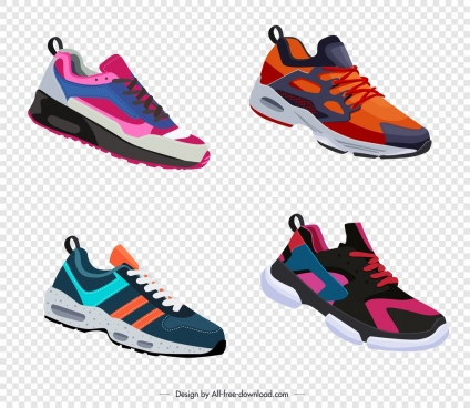 shoe templates collection colorful modern sketch