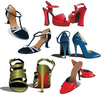 women fashion shoes icons colored 3d decor