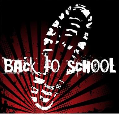 back to school banner grunge shoe print sketch