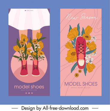 shoes advertising flyer floral decor handdrawn classic sketch