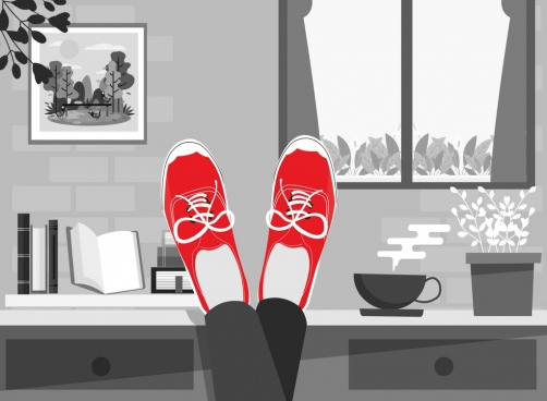 shoes advertising red ornament cartoon design