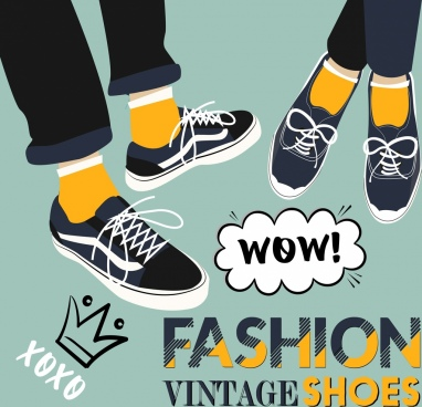 shoes fashion background vintage design feet icons