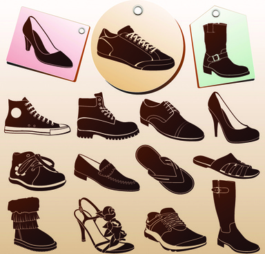 shoes tags and shoes vector