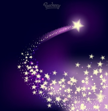 shooting twinkling star on the purple background