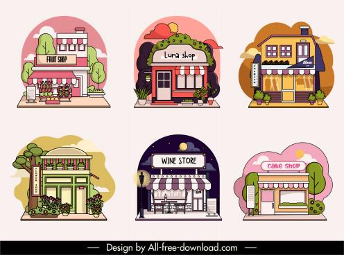 shop exterior templates colorful flat sketch
