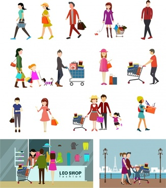 shopping activities design element human icons style