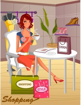 shopping background relaxed lady shop icons cartoon design