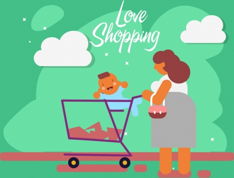 shopping background mother kid trolley icons flat decor