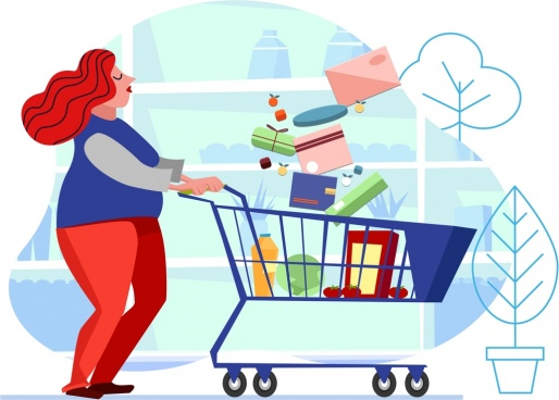 shopping background woman trolley goods icons cartoon sketch