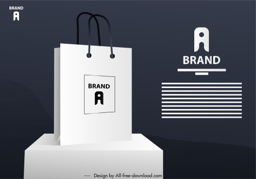 shopping bag advertising banner modern 3d sketch