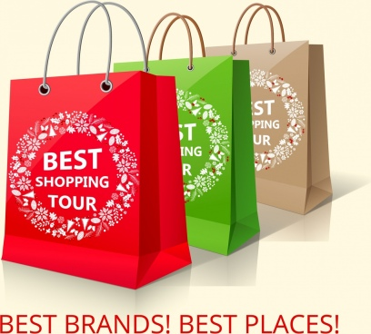 shopping bag icons 3d colorful design flowers decoration