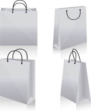 shopping bag icons design 3d white blank sketch