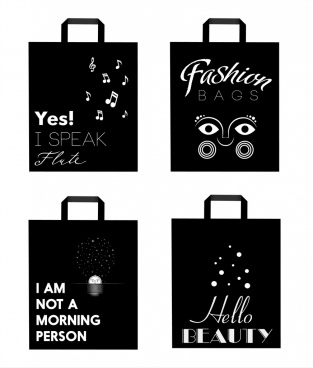 shopping bags icons isolation black white decoration