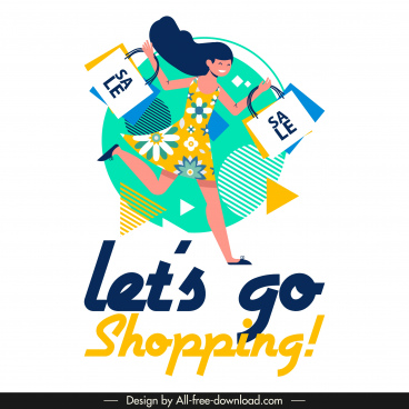shopping banner joyful shopper icon colorful flat design