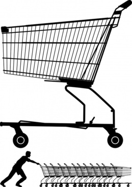 shopping design elements cart icons silhouette design