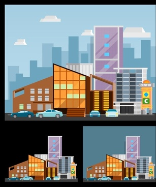 shopping center design with various size colored sketches