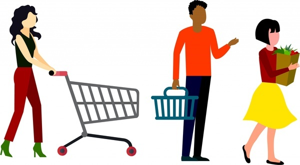shopping concept design human with cart isolation