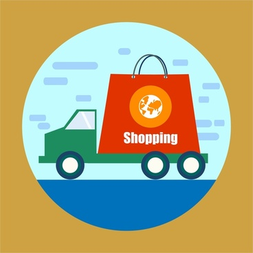 shopping concept design with truck and bag illustration